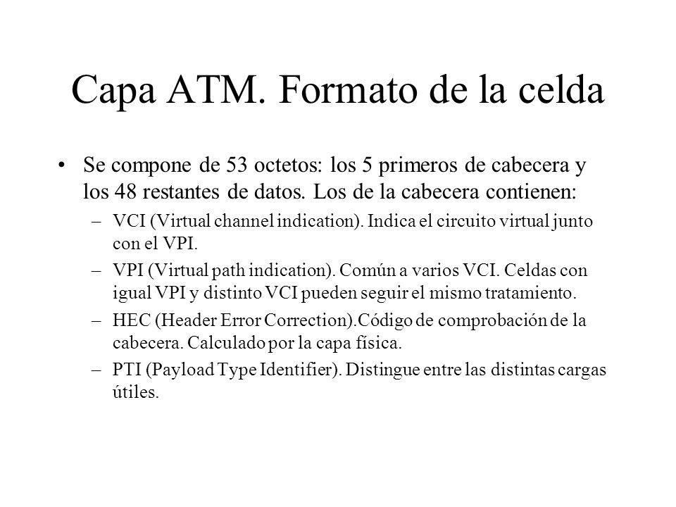 Capa ATM. Formato de la celda Se compone de 53 octetos: los 5 primeros de cabecera y los 48 restantes de datos. Los de la cabecera contienen: –VCI (Vi
