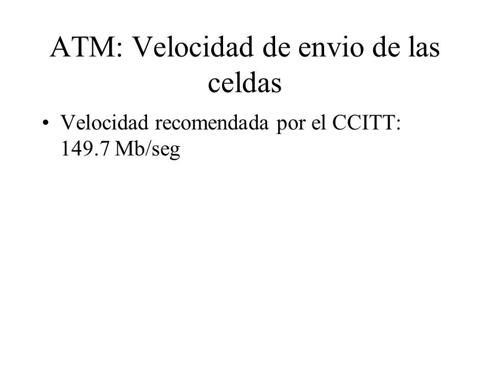 ATM: Velocidad de envio de las celdas Velocidad recomendada por el CCITT: 149.7 Mb/seg