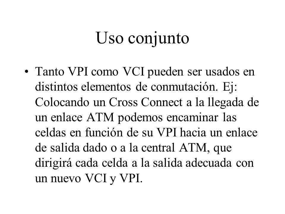 Uso conjunto Tanto VPI como VCI pueden ser usados en distintos elementos de conmutación. Ej: Colocando un Cross Connect a la llegada de un enlace ATM