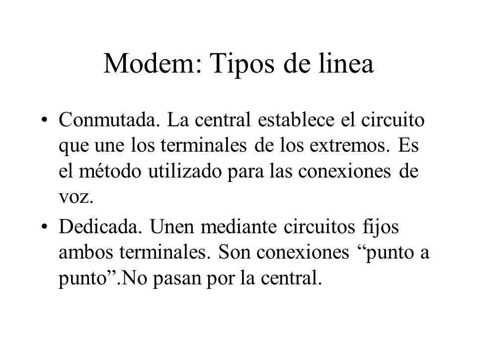 Modem: Tipos de linea Conmutada. La central establece el circuito que une los terminales de los extremos. Es el método utilizado para las conexiones d