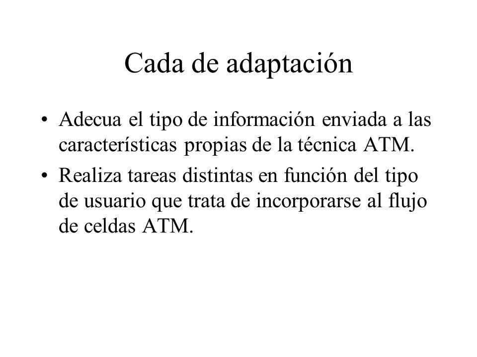 Cada de adaptación Adecua el tipo de información enviada a las características propias de la técnica ATM. Realiza tareas distintas en función del tipo