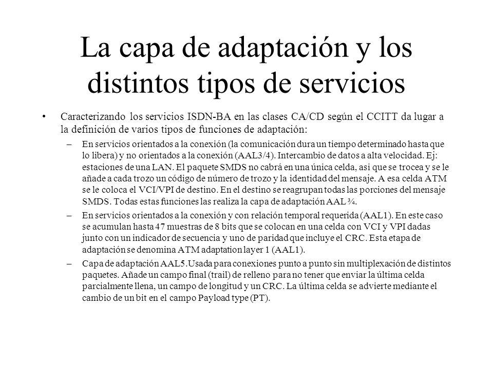 La capa de adaptación y los distintos tipos de servicios Caracterizando los servicios ISDN-BA en las clases CA/CD según el CCITT da lugar a la definic