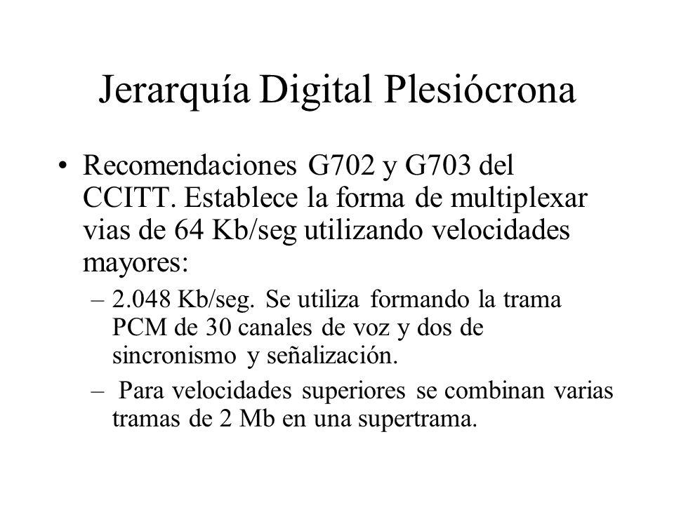 Jerarquía Digital Plesiócrona Recomendaciones G702 y G703 del CCITT. Establece la forma de multiplexar vias de 64 Kb/seg utilizando velocidades mayore