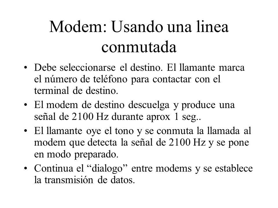 Modem: Usando una linea conmutada Debe seleccionarse el destino. El llamante marca el número de teléfono para contactar con el terminal de destino. El