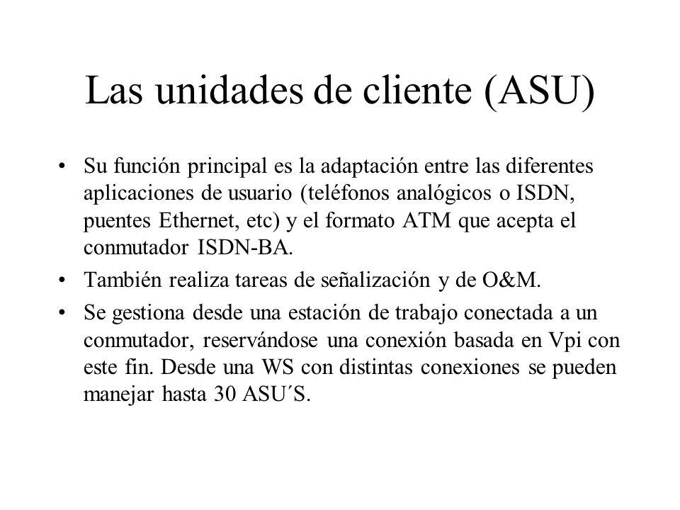 Las unidades de cliente (ASU) Su función principal es la adaptación entre las diferentes aplicaciones de usuario (teléfonos analógicos o ISDN, puentes