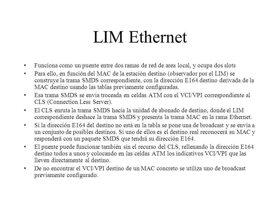 LIM Ethernet Funciona como un puente entre dos ramas de red de area local, y ocupa dos slots Para ello, en función del MAC de la estación destino (obs