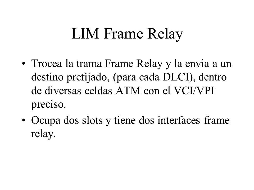 LIM Frame Relay Trocea la trama Frame Relay y la envia a un destino prefijado, (para cada DLCI), dentro de diversas celdas ATM con el VCI/VPI preciso.