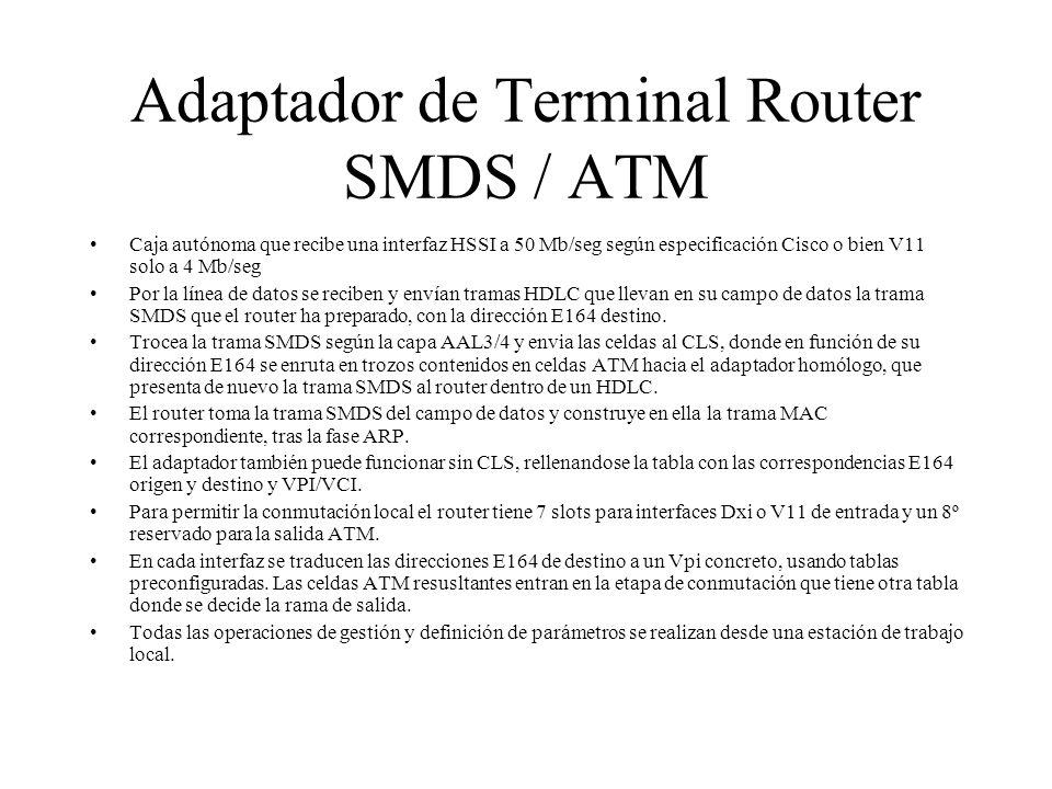 Adaptador de Terminal Router SMDS / ATM Caja autónoma que recibe una interfaz HSSI a 50 Mb/seg según especificación Cisco o bien V11 solo a 4 Mb/seg P