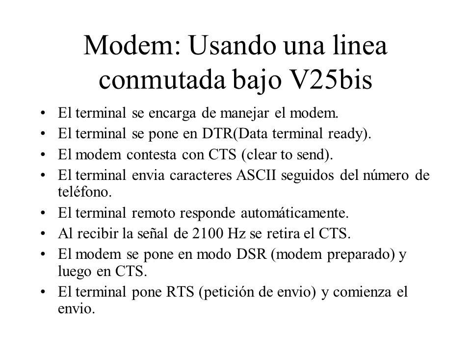 Modem: Usando una linea conmutada bajo V25bis El terminal se encarga de manejar el modem. El terminal se pone en DTR(Data terminal ready). El modem co