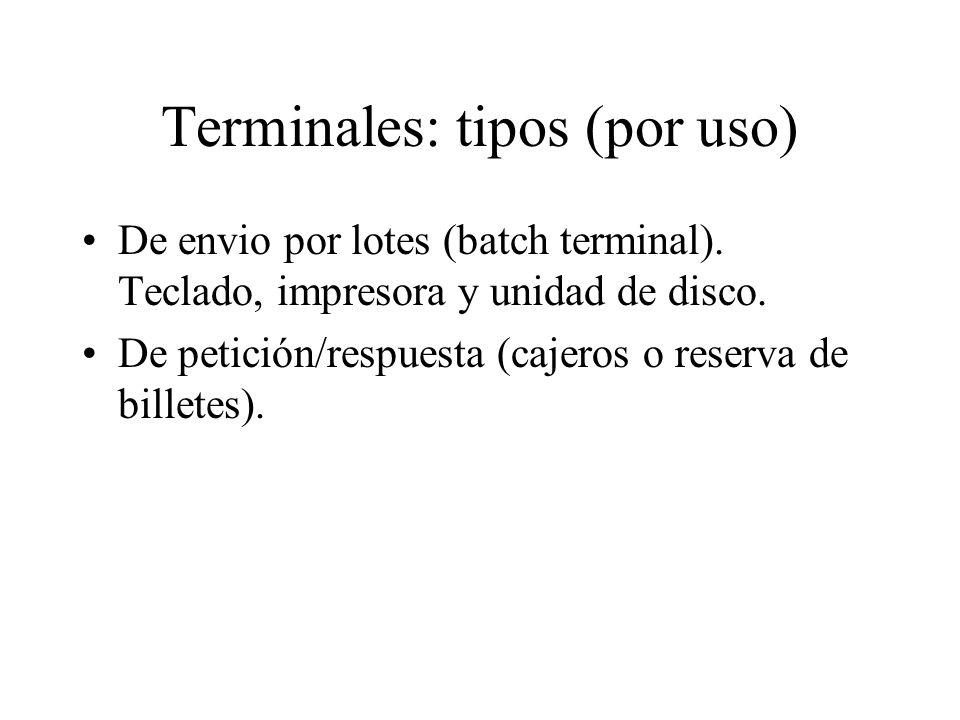 Terminales: tipos (por uso) De envio por lotes (batch terminal). Teclado, impresora y unidad de disco. De petición/respuesta (cajeros o reserva de bil