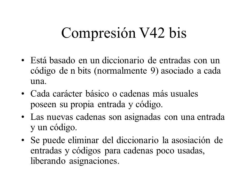 Compresión V42 bis Está basado en un diccionario de entradas con un código de n bits (normalmente 9) asociado a cada una. Cada carácter básico o caden
