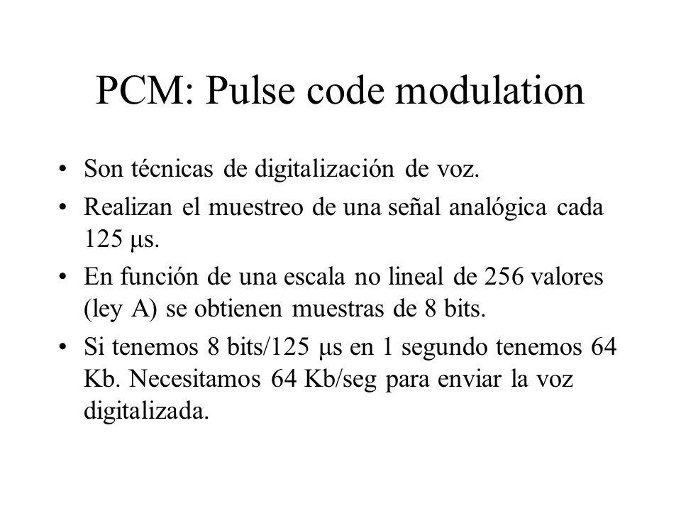 PCM: Pulse code modulation Son técnicas de digitalización de voz. Realizan el muestreo de una señal analógica cada 125 μs. En función de una escala no