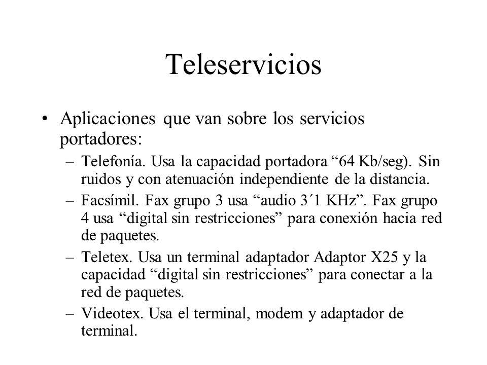 Teleservicios Aplicaciones que van sobre los servicios portadores: –Telefonía. Usa la capacidad portadora 64 Kb/seg). Sin ruidos y con atenuación inde