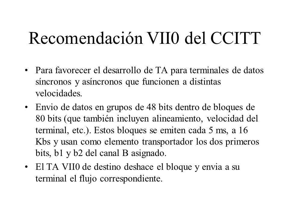 Recomendación VII0 del CCITT Para favorecer el desarrollo de TA para terminales de datos síncronos y asíncronos que funcionen a distintas velocidades.
