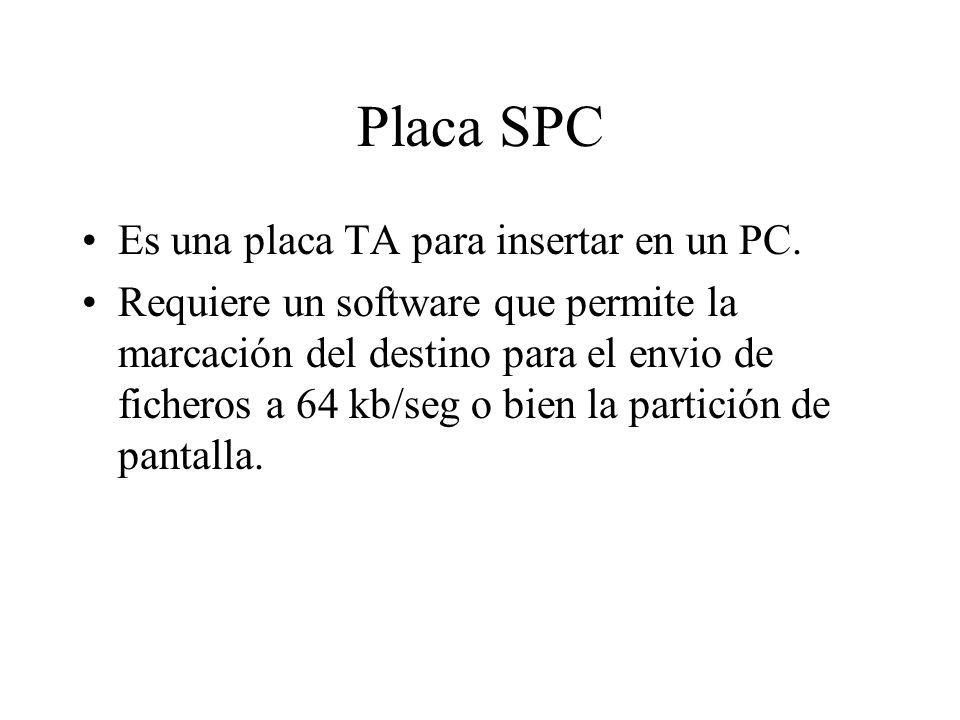 Placa SPC Es una placa TA para insertar en un PC. Requiere un software que permite la marcación del destino para el envio de ficheros a 64 kb/seg o bi