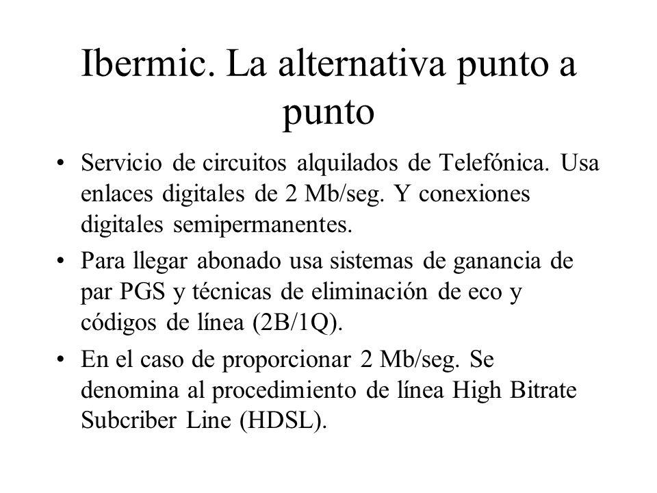 Ibermic. La alternativa punto a punto Servicio de circuitos alquilados de Telefónica. Usa enlaces digitales de 2 Mb/seg. Y conexiones digitales semipe