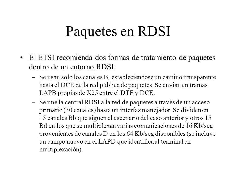 Paquetes en RDSI El ETSI recomienda dos formas de tratamiento de paquetes dentro de un entorno RDSI: –Se usan solo los canales B, estableciendose un c