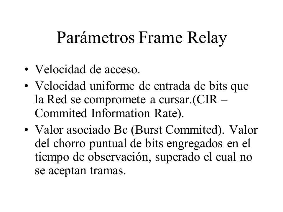 Parámetros Frame Relay Velocidad de acceso. Velocidad uniforme de entrada de bits que la Red se compromete a cursar.(CIR – Commited Information Rate).