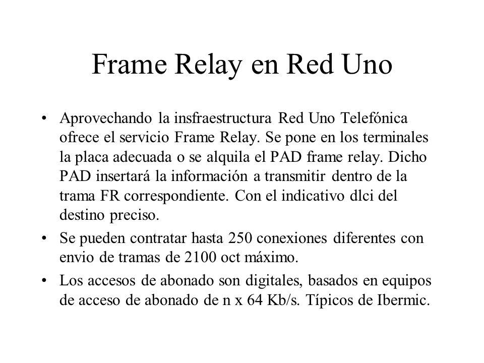 Frame Relay en Red Uno Aprovechando la insfraestructura Red Uno Telefónica ofrece el servicio Frame Relay. Se pone en los terminales la placa adecuada