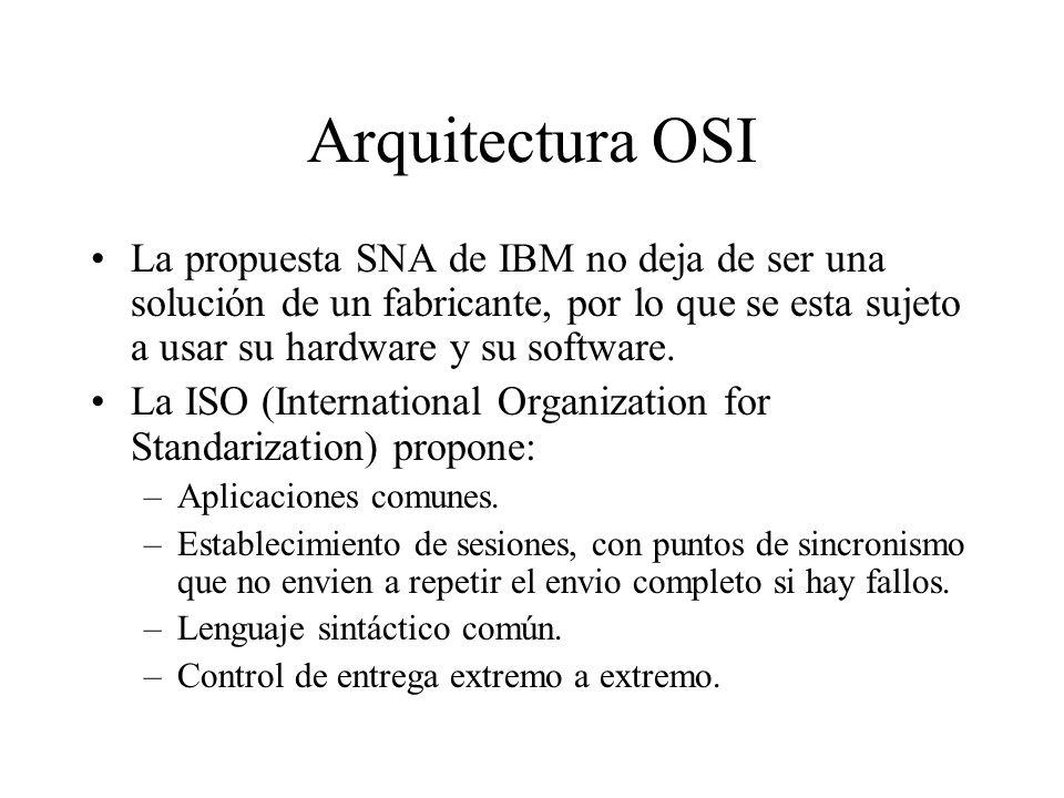 Arquitectura OSI La propuesta SNA de IBM no deja de ser una solución de un fabricante, por lo que se esta sujeto a usar su hardware y su software. La