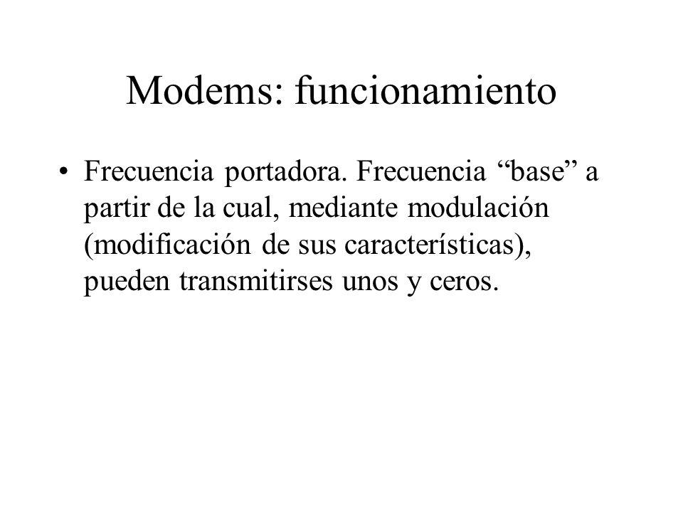 Modems: funcionamiento Frecuencia portadora. Frecuencia base a partir de la cual, mediante modulación (modificación de sus características), pueden tr