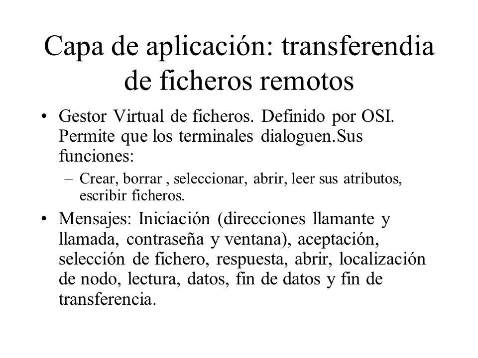 Capa de aplicación: transferendia de ficheros remotos Gestor Virtual de ficheros. Definido por OSI. Permite que los terminales dialoguen.Sus funciones