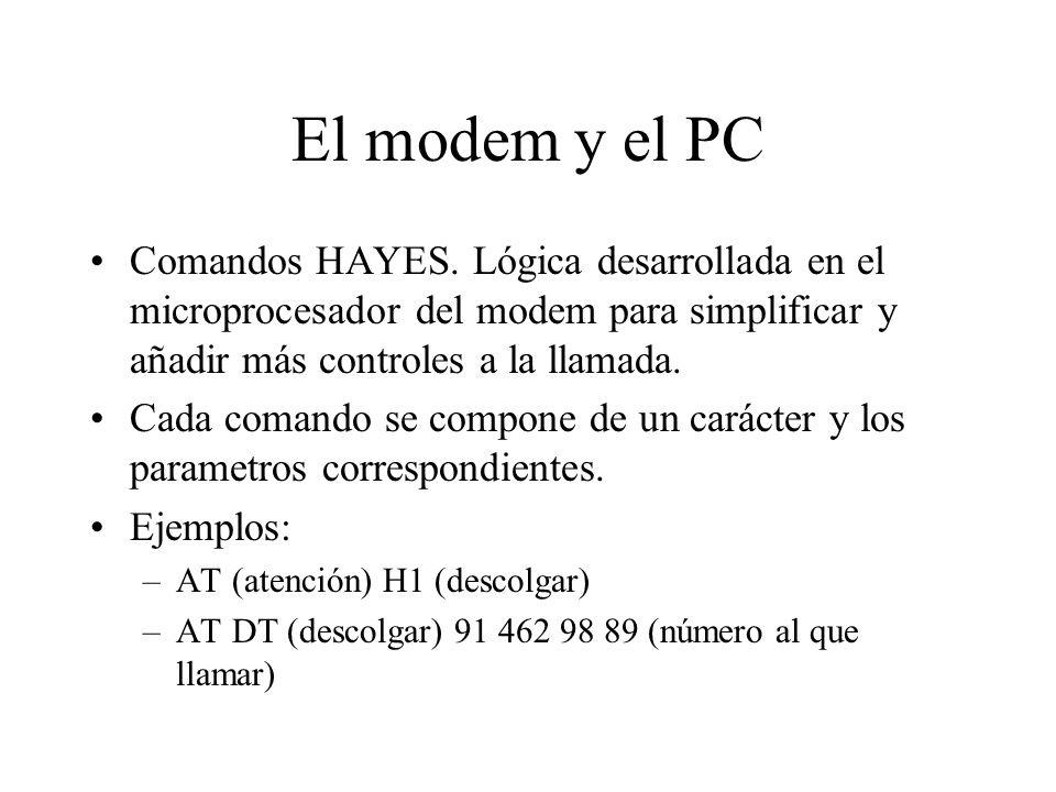 El modem y el PC Comandos HAYES. Lógica desarrollada en el microprocesador del modem para simplificar y añadir más controles a la llamada. Cada comand
