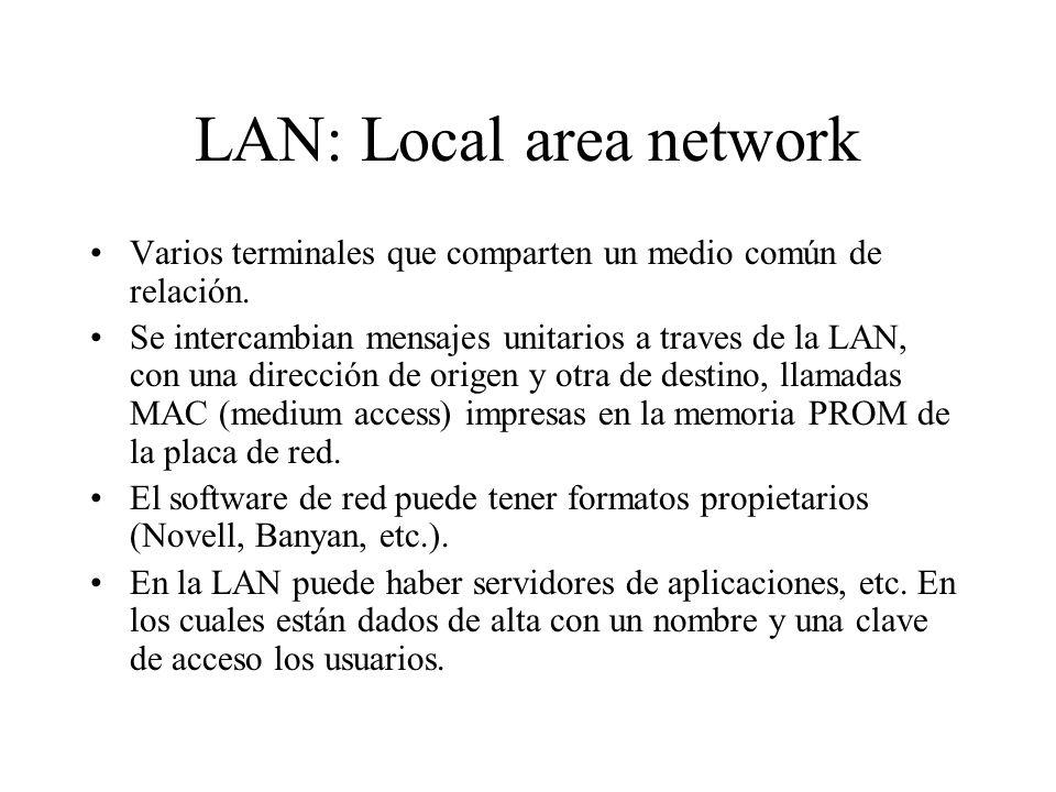 LAN: Local area network Varios terminales que comparten un medio común de relación. Se intercambian mensajes unitarios a traves de la LAN, con una dir