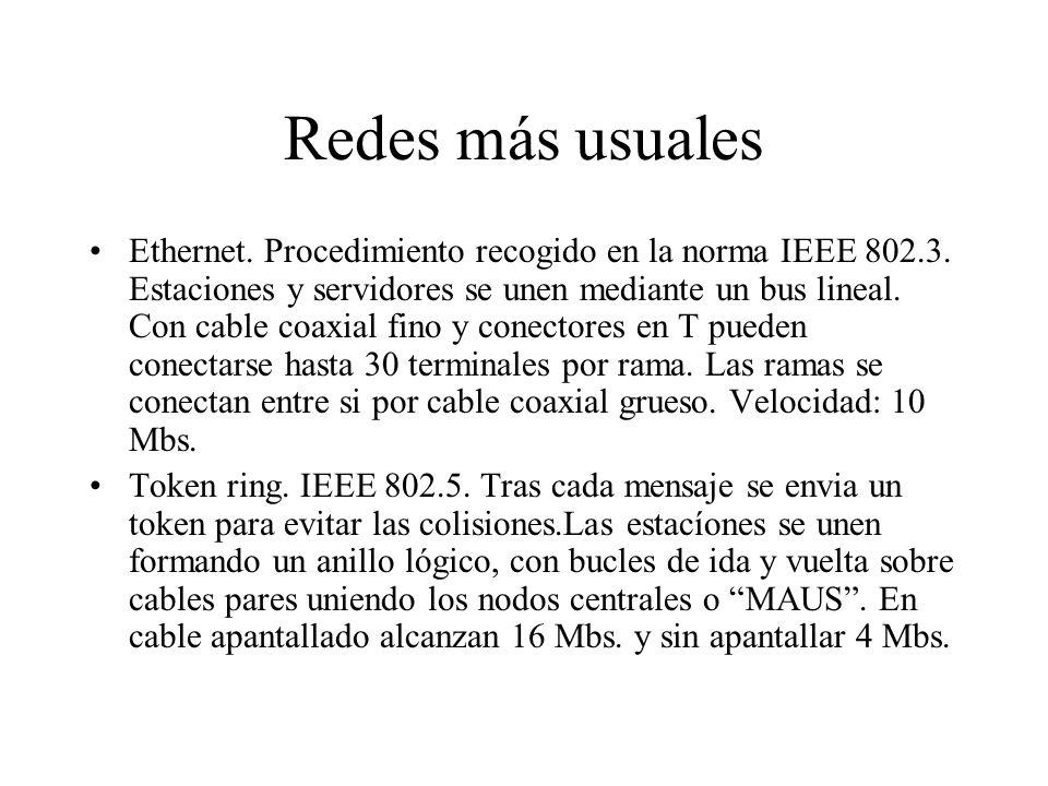 Redes más usuales Ethernet. Procedimiento recogido en la norma IEEE 802.3. Estaciones y servidores se unen mediante un bus lineal. Con cable coaxial f