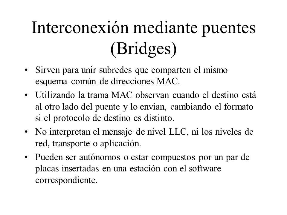 Interconexión mediante puentes (Bridges) Sirven para unir subredes que comparten el mismo esquema común de direcciones MAC. Utilizando la trama MAC ob
