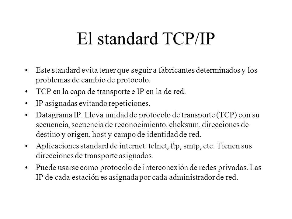 El standard TCP/IP Este standard evita tener que seguir a fabricantes determinados y los problemas de cambio de protocolo. TCP en la capa de transport