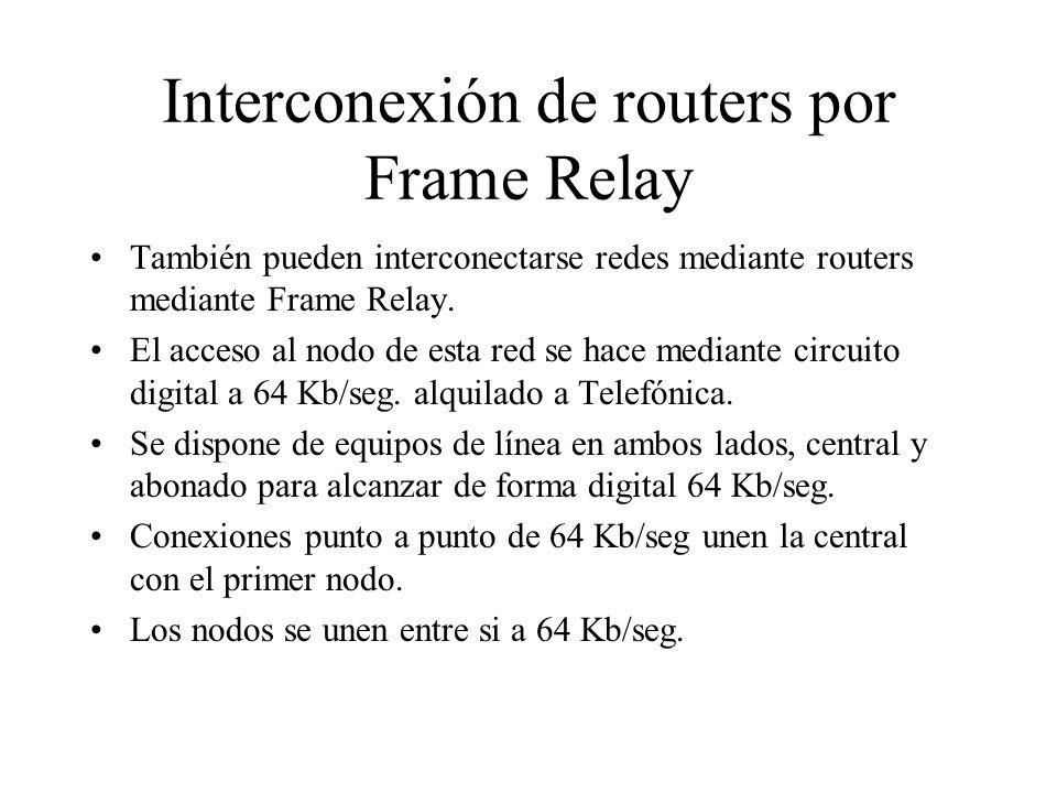 Interconexión de routers por Frame Relay También pueden interconectarse redes mediante routers mediante Frame Relay. El acceso al nodo de esta red se