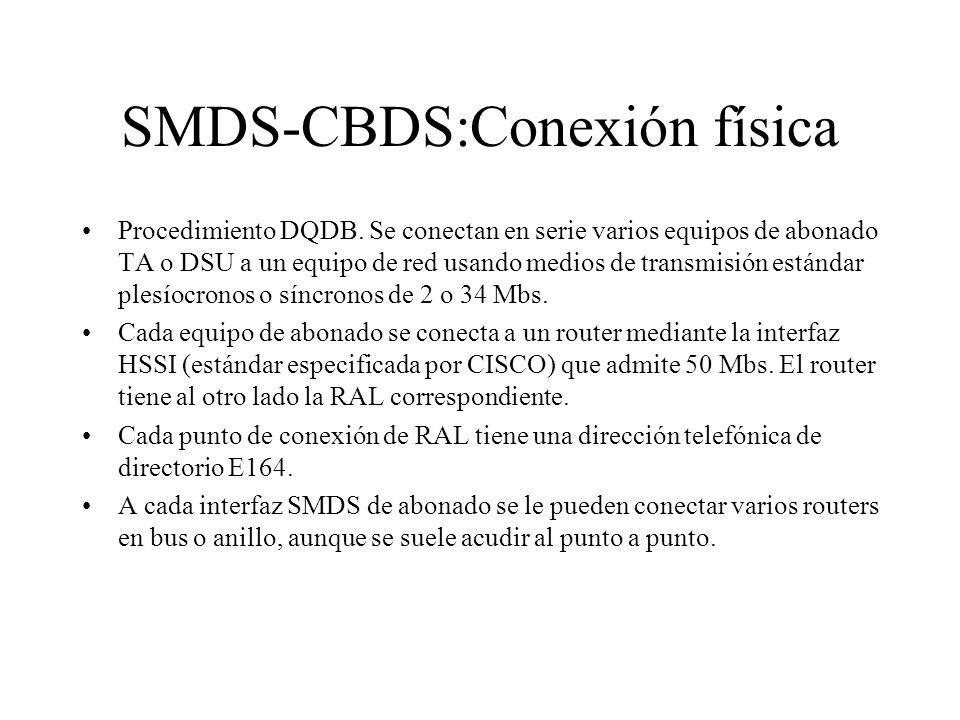 SMDS-CBDS:Conexión física Procedimiento DQDB. Se conectan en serie varios equipos de abonado TA o DSU a un equipo de red usando medios de transmisión