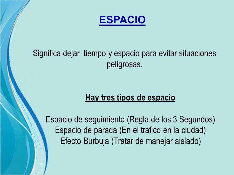 ESPACIO Significa dejar tiempo y espacio para evitar situaciones peligrosas. Hay tres tipos de espacio Espacio de seguimiento (Regla de los 3 Segundos