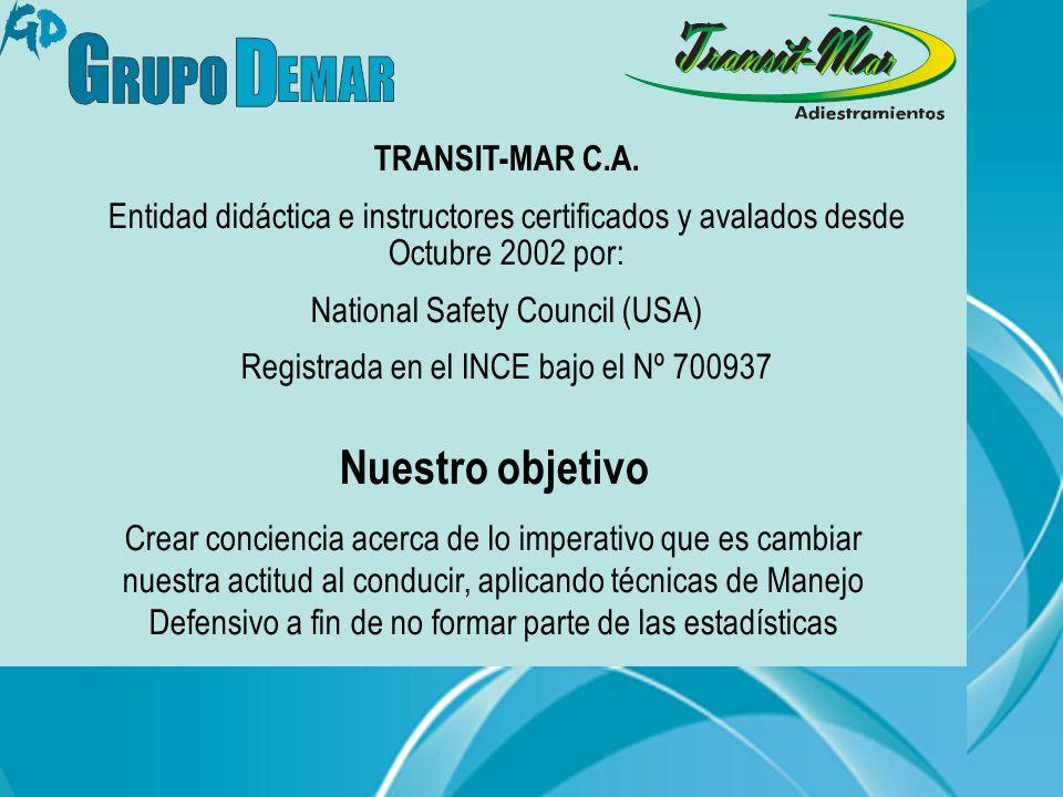TRANSIT-MAR C.A. Entidad didáctica e instructores certificados y avalados desde Octubre 2002 por: National Safety Council (USA) Registrada en el INCE