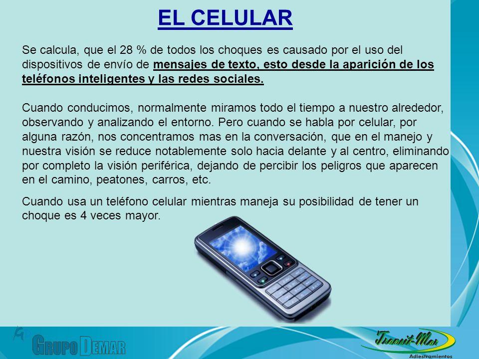 Se calcula, que el 28 % de todos los choques es causado por el uso del dispositivos de envío de mensajes de texto, esto desde la aparición de los telé