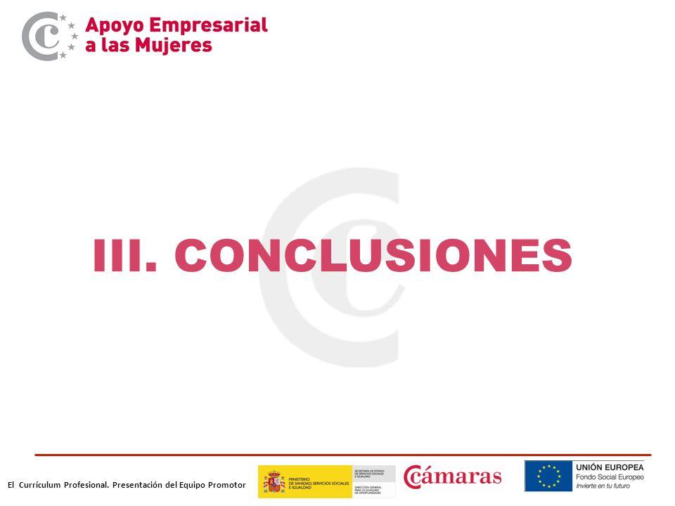 El Currículum Profesional. Presentación del Equipo Promotor III. CONCLUSIONES