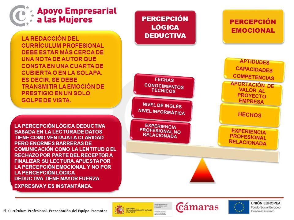 El Currículum Profesional. Presentación del Equipo Promotor PERCEPCIÓN LÓGICA DEDUCTIVA PERCEPCIÓN EMOCIONAL EXPERIENCIA PROFESIONAL RELACIONADA HECHO