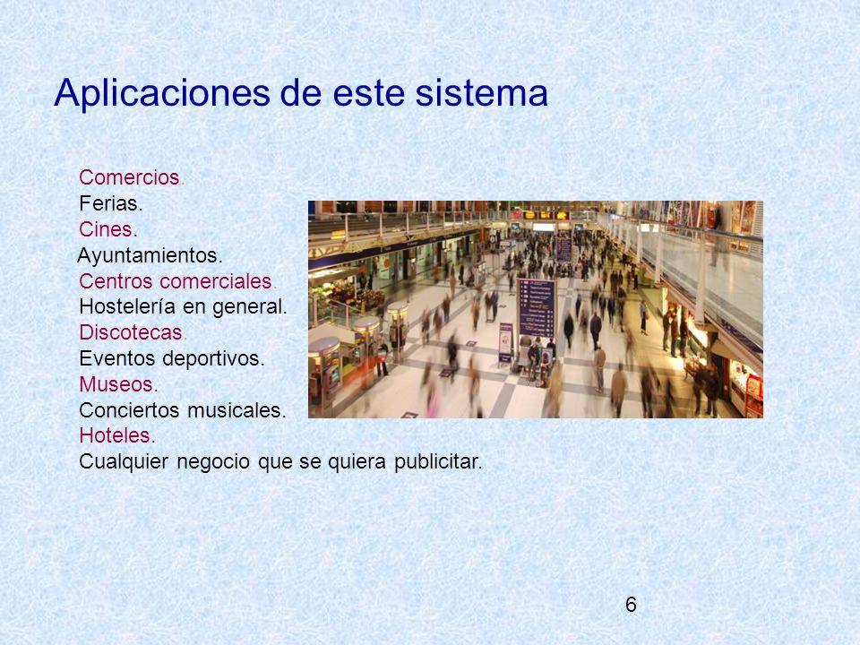 6 Aplicaciones de este sistema Comercios. Ferias. Cines. Ayuntamientos. Centros comerciales. Hostelería en general. Discotecas. Eventos deportivos. Mu