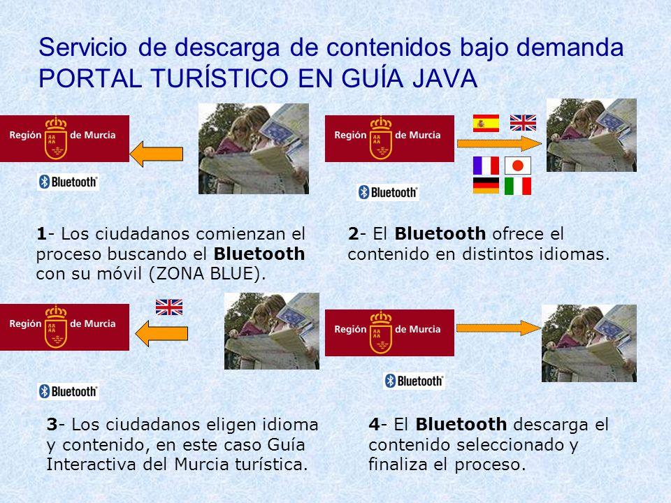 Servicio de descarga de contenidos bajo demanda PORTAL TURÍSTICO EN GUÍA JAVA 1- Los ciudadanos comienzan el proceso buscando el Bluetooth con su móvi