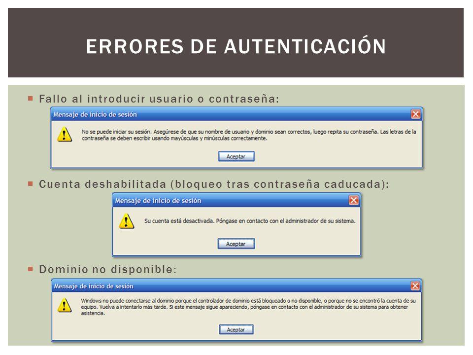 Fallo al introducir usuario o contraseña: Cuenta deshabilitada (bloqueo tras contraseña caducada): Dominio no disponible: ERRORES DE AUTENTICACIÓN