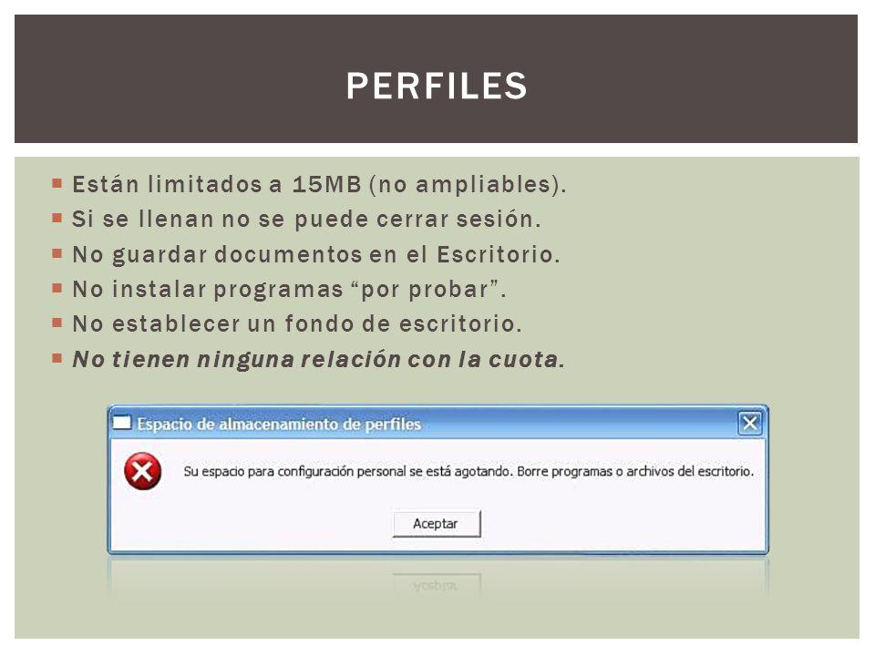 ¿Cómo buscar los ficheros que llenan el perfil? Doble clic en el aspa roja: PERFILES