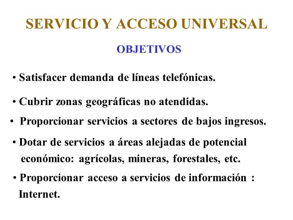 SERVICIO Y ACCESO UNIVERSAL OBJETIVOS Satisfacer demanda de líneas telefónicas.