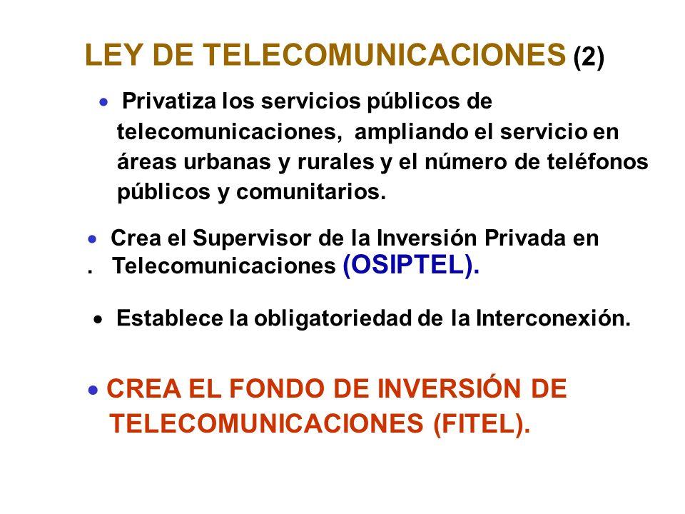 LEY DE TELECOMUNICACIONES (2) CREA EL FONDO DE INVERSIÓN DE TELECOMUNICACIONES (FITEL).