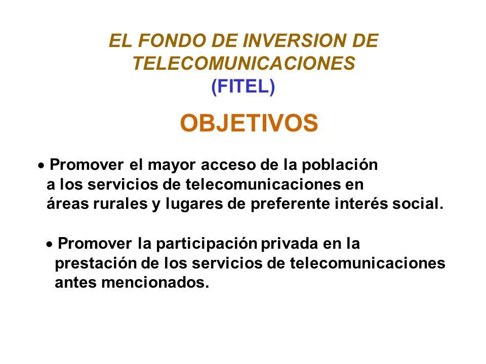 EL FONDO DE INVERSION DE TELECOMUNICACIONES (FITEL) OBJETIVOS Promover el mayor acceso de la población a los servicios de telecomunicaciones en áreas rurales y lugares de preferente interés social.