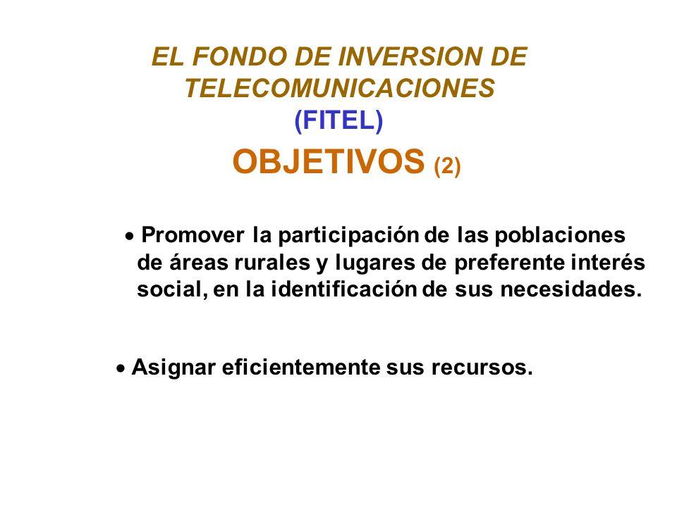 EL FONDO DE INVERSION DE TELECOMUNICACIONES (FITEL) OBJETIVOS (2) Promover la participación de las poblaciones de áreas rurales y lugares de preferente interés social, en la identificación de sus necesidades.