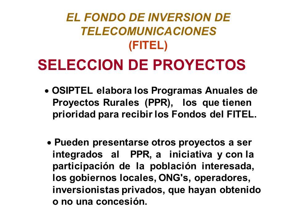 EL FONDO DE INVERSION DE TELECOMUNICACIONES (FITEL) SELECCION DE PROYECTOS OSIPTEL elabora los Programas Anuales de Proyectos Rurales (PPR), los que tienen prioridad para recibir los Fondos del FITEL.