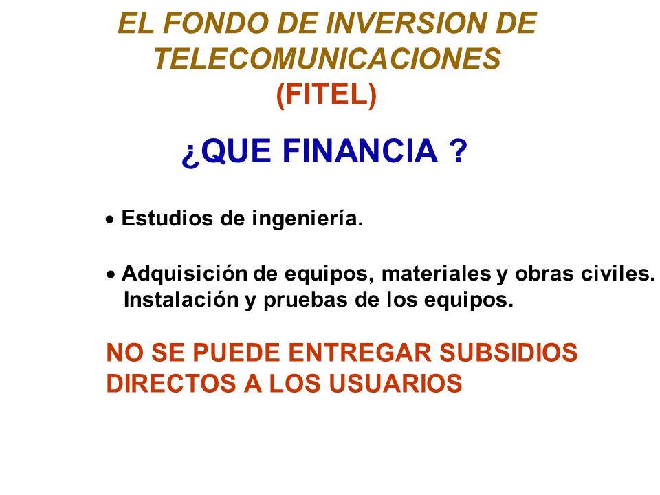EL FONDO DE INVERSION DE TELECOMUNICACIONES (FITEL) ¿QUE FINANCIA .