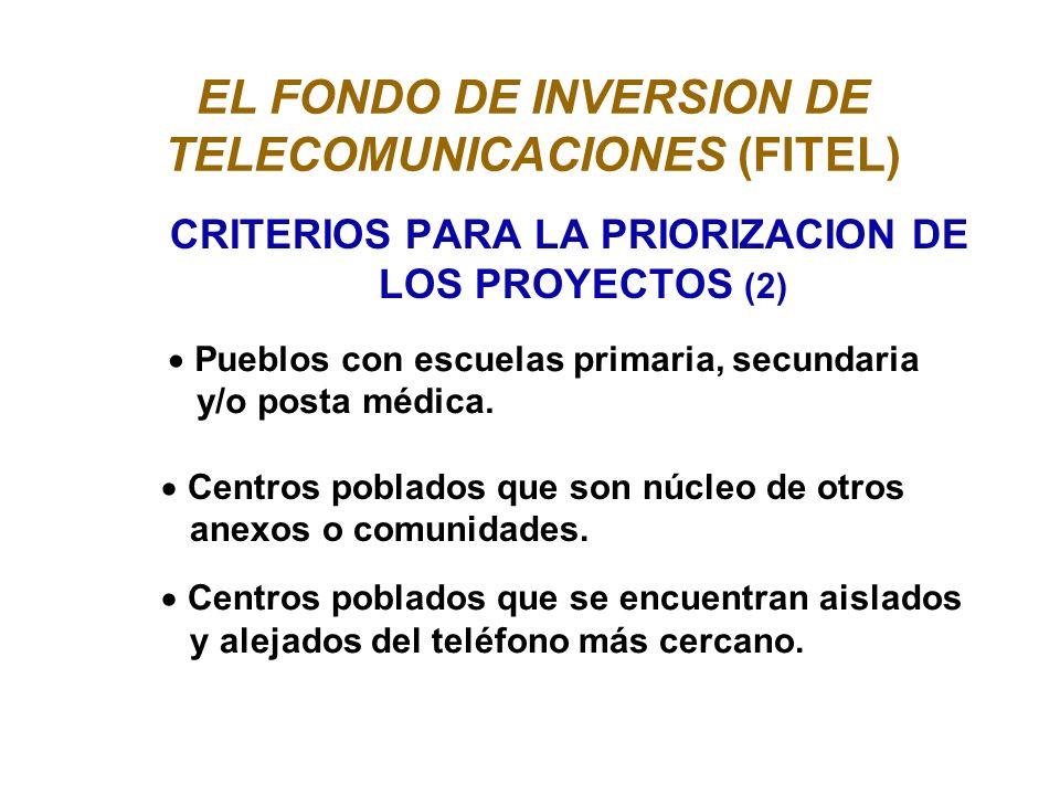 EL FONDO DE INVERSION DE TELECOMUNICACIONES (FITEL) CRITERIOS PARA LA PRIORIZACION DE LOS PROYECTOS (2) Pueblos con escuelas primaria, secundaria y/o posta médica.