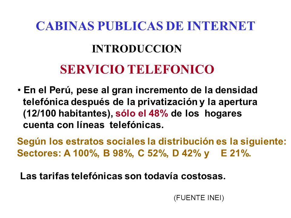 CABINAS PUBLICAS DE INTERNET INTRODUCCION SERVICIO TELEFONICO En el Perú, pese al gran incremento de la densidad telefónica después de la privatización y la apertura (12/100 habitantes), sólo el 48% de los hogares cuenta con líneas telefónicas.
